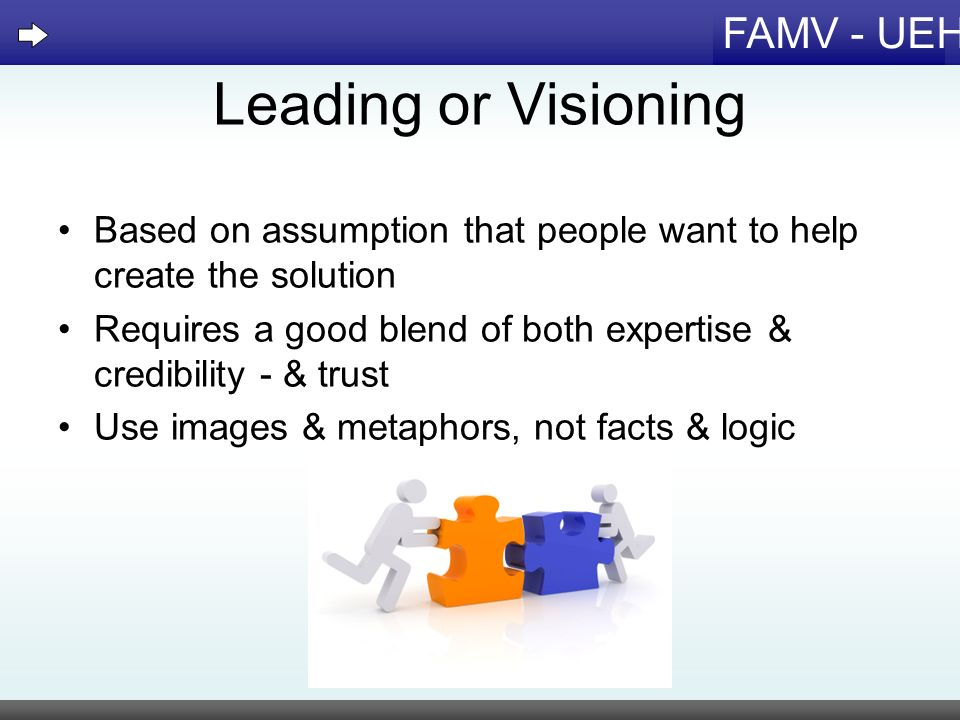 Leading or Visioning Based on assumption that people want to help create the solution.