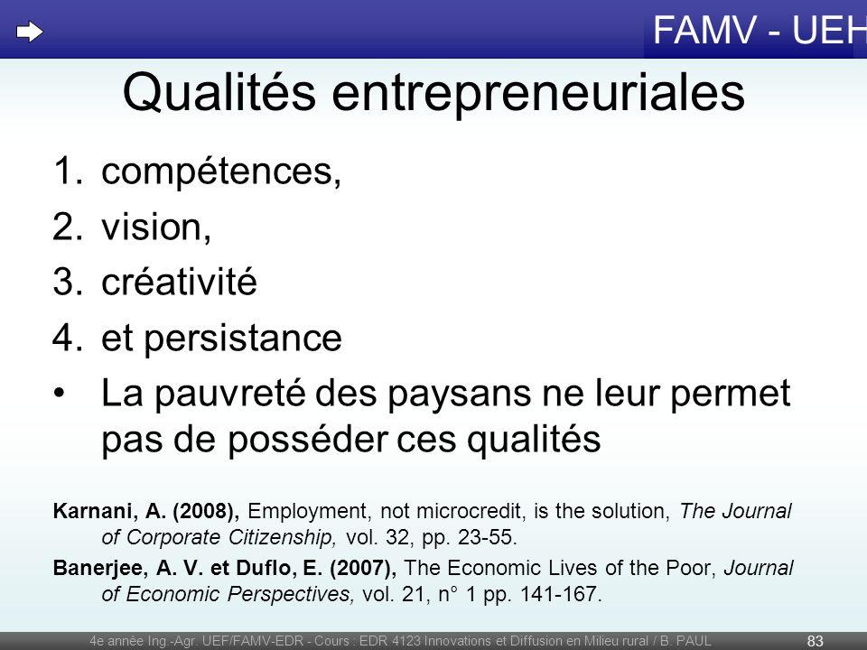 Qualités entrepreneuriales