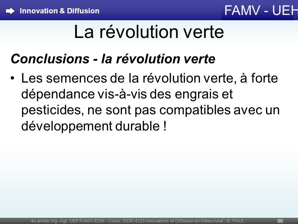 La révolution verte Conclusions - la révolution verte