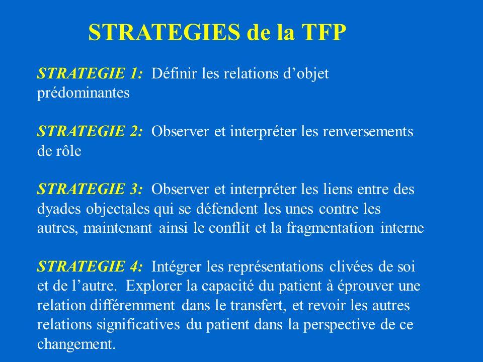 STRATEGIES de la TFP STRATEGIE 1: Définir les relations d'objet prédominantes. STRATEGIE 2: Observer et interpréter les renversements de rôle.