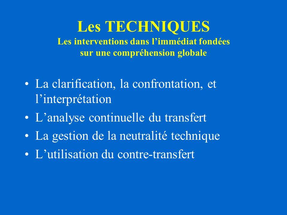 Les TECHNIQUES Les interventions dans l'immédiat fondées sur une compréhension globale