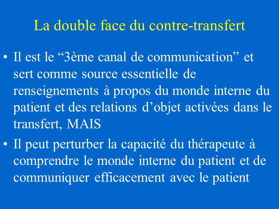 La double face du contre-transfert