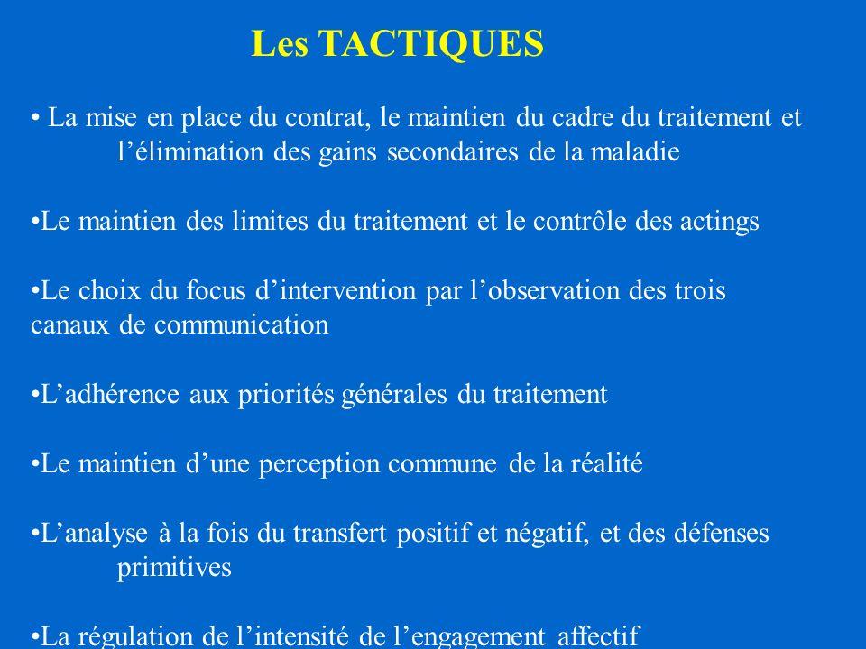 Les TACTIQUES La mise en place du contrat, le maintien du cadre du traitement et l'élimination des gains secondaires de la maladie.