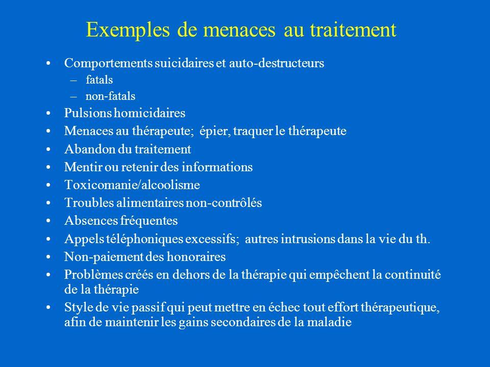 Exemples de menaces au traitement