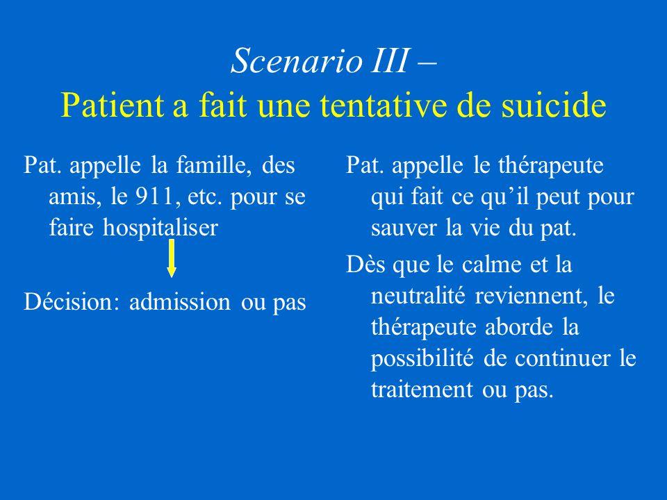Scenario III – Patient a fait une tentative de suicide