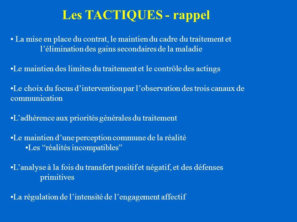 Les TACTIQUES - rappel La mise en place du contrat, le maintien du cadre du traitement et l'élimination des gains secondaires de la maladie.