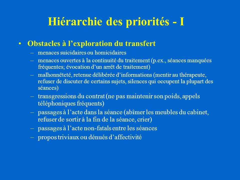 Hiérarchie des priorités - I