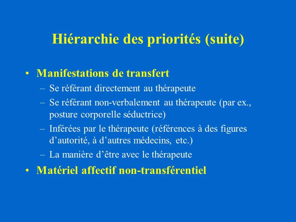 Hiérarchie des priorités (suite)