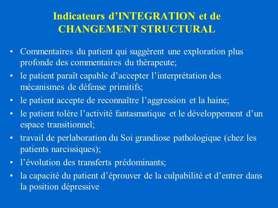 Indicateurs d'INTEGRATION et de CHANGEMENT STRUCTURAL