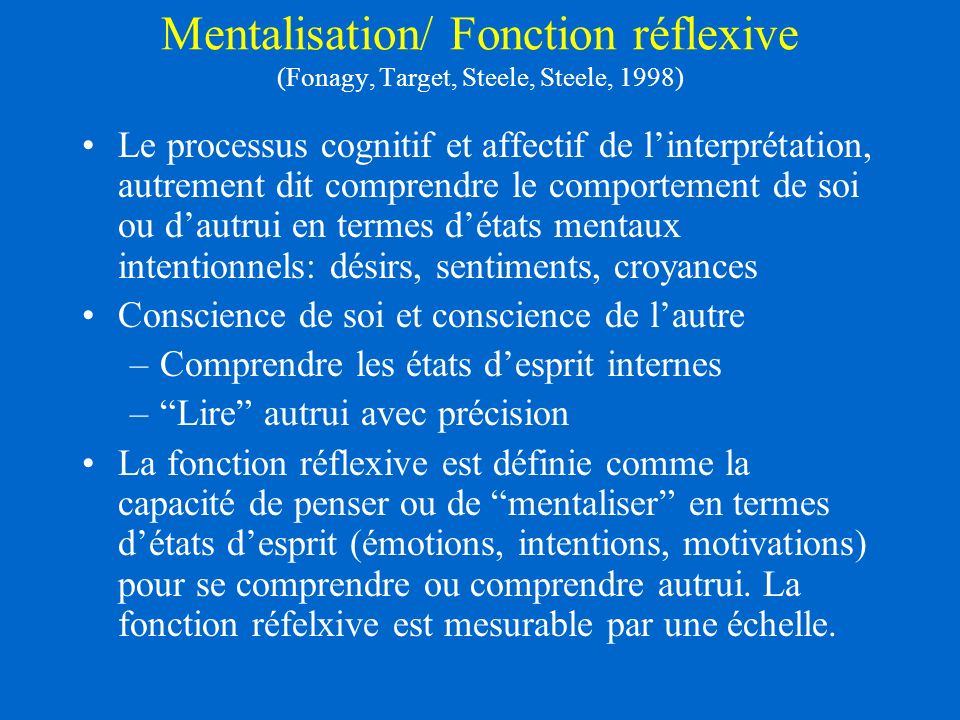 Mentalisation/ Fonction réflexive (Fonagy, Target, Steele, Steele, 1998)