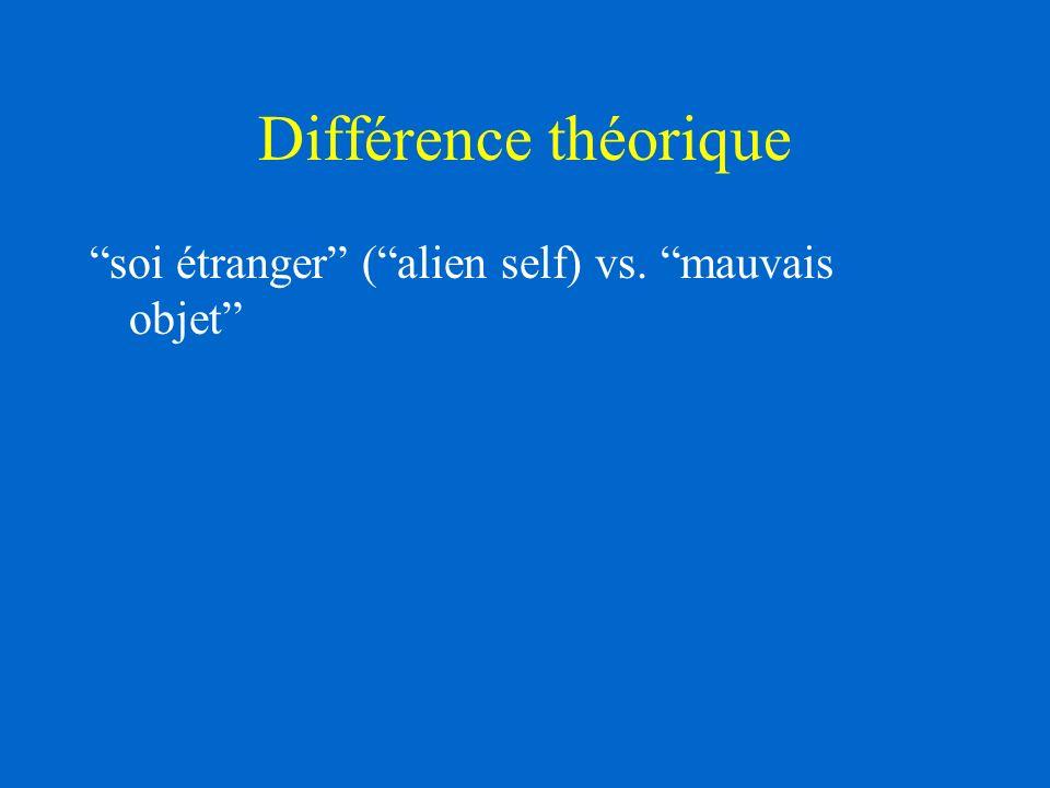 Différence théorique soi étranger ( alien self) vs. mauvais objet