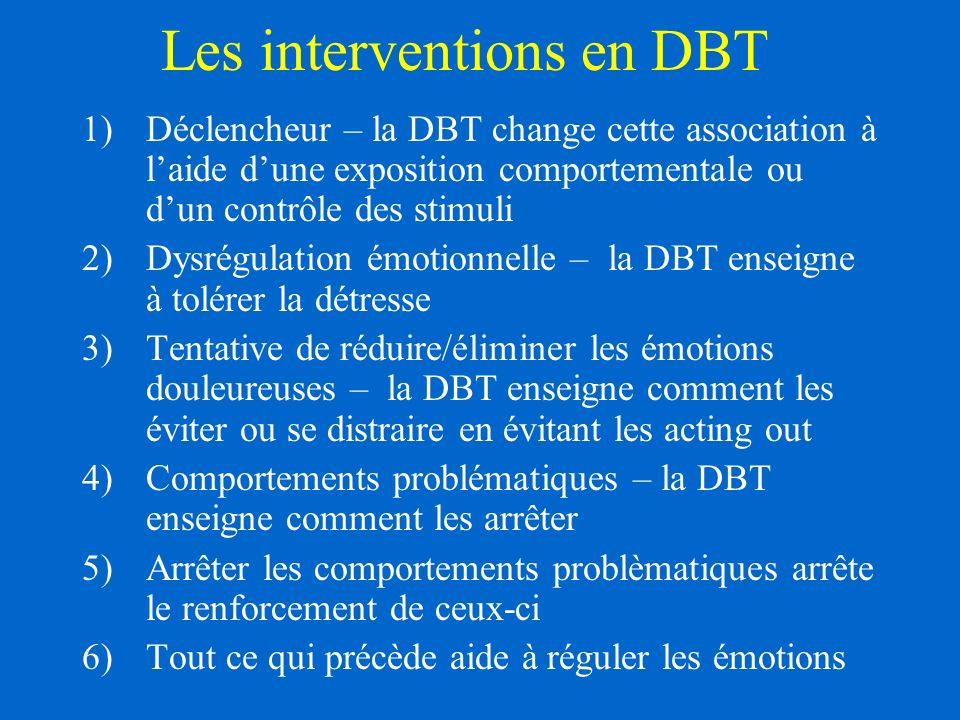 Les interventions en DBT