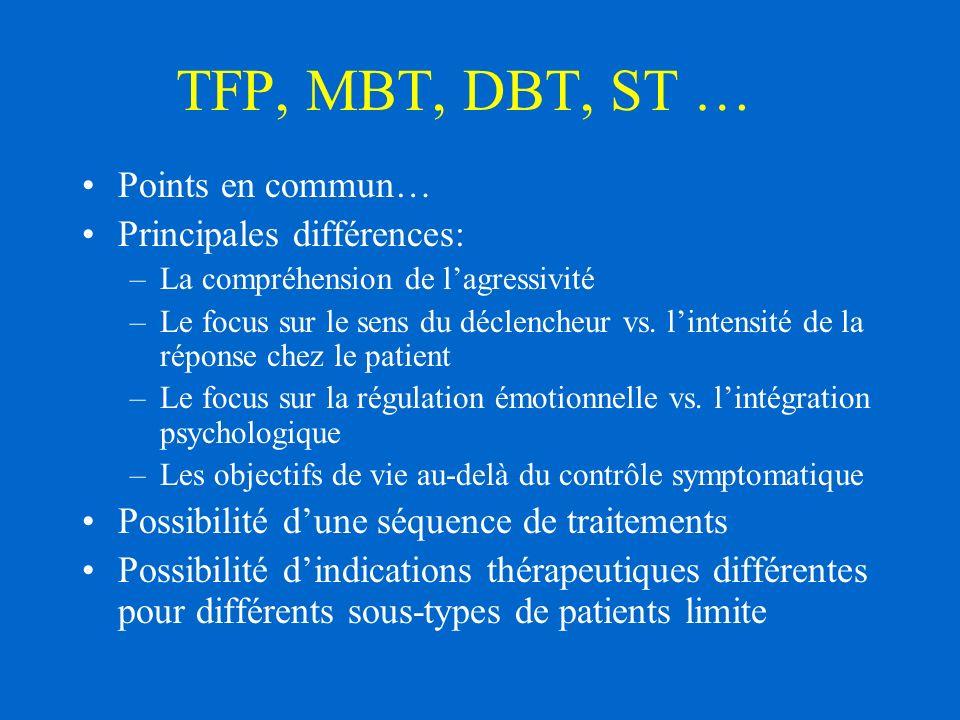 TFP, MBT, DBT, ST … Points en commun… Principales différences: