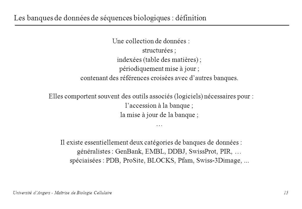 Les banques de données de séquences biologiques : définition