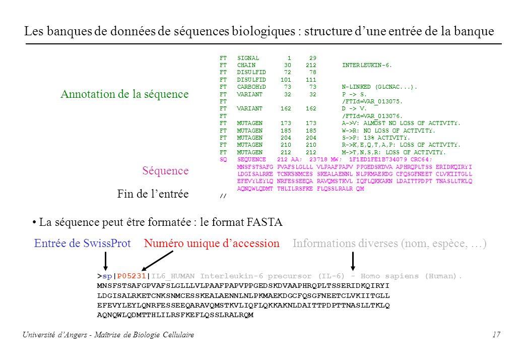 Les banques de données de séquences biologiques : structure d'une entrée de la banque