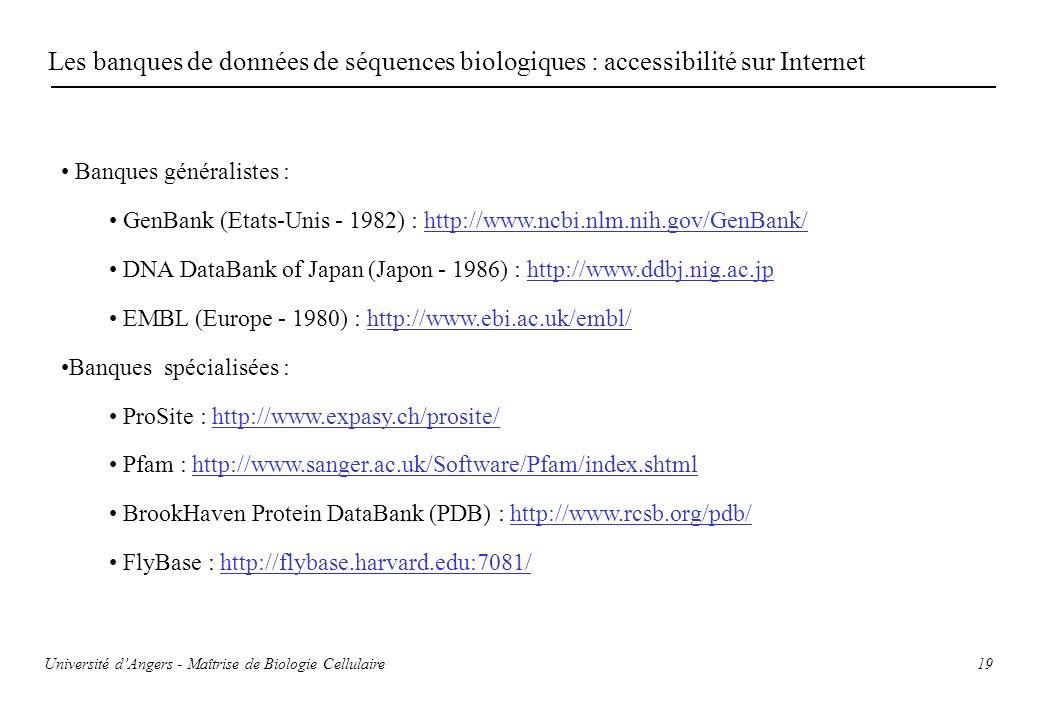 Les banques de données de séquences biologiques : accessibilité sur Internet