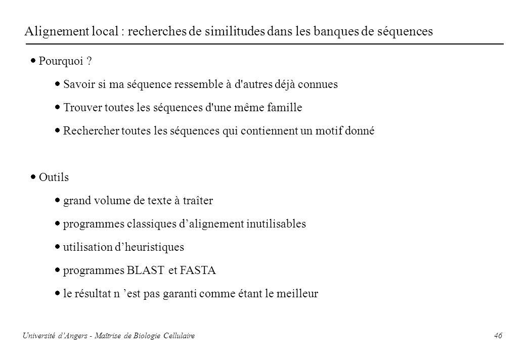Alignement local : recherches de similitudes dans les banques de séquences
