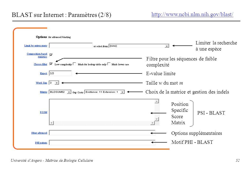 BLAST sur Internet : Paramètres (2/8)