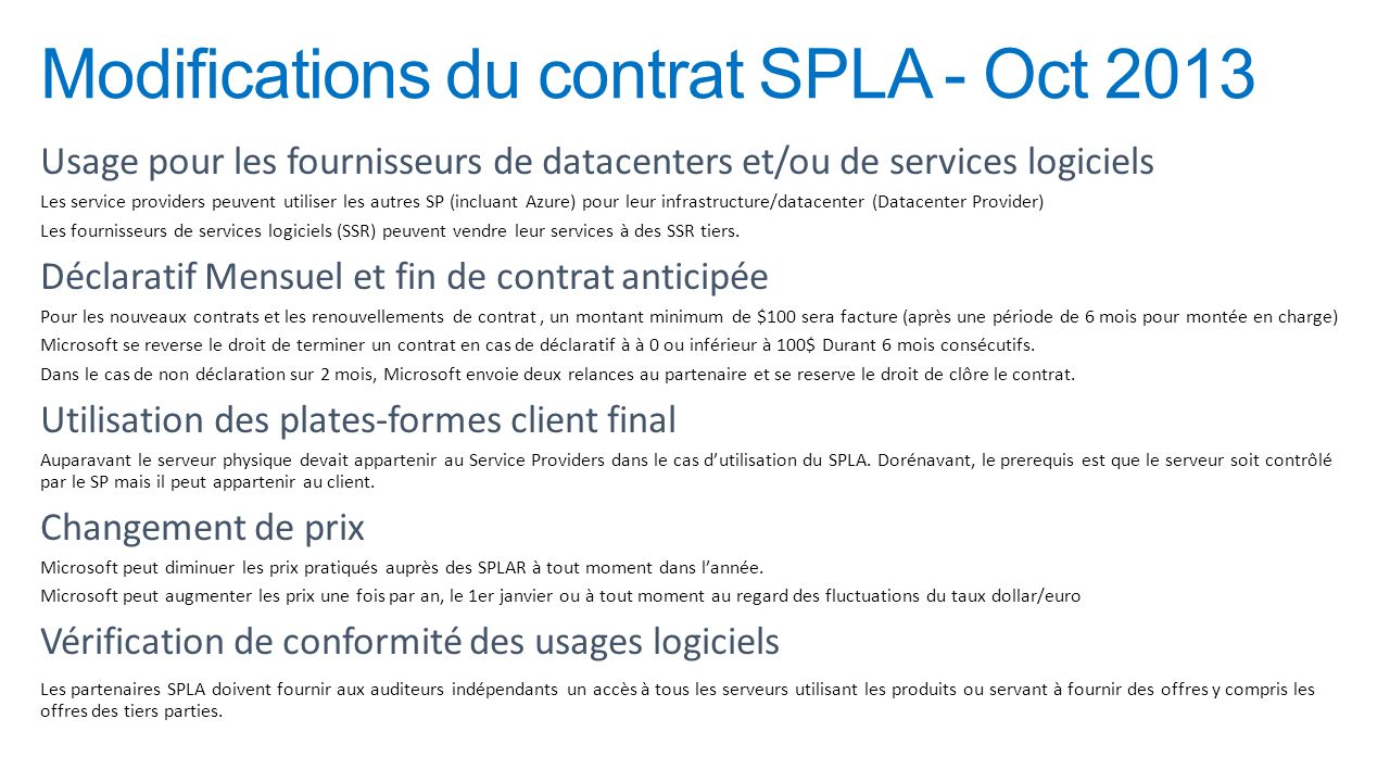 Modifications du contrat SPLA - Oct 2013