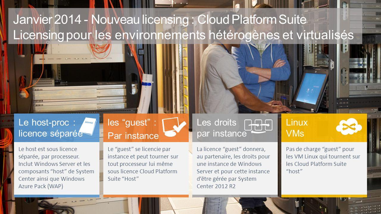 3/30/2017 Janvier 2014 - Nouveau licensing : Cloud Platform Suite Licensing pour les environnements hétérogènes et virtualisés.