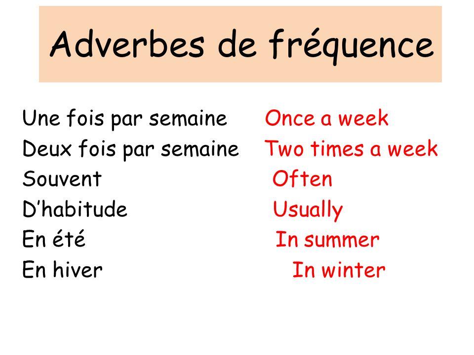 Adverbes de fréquence Une fois par semaine Once a week