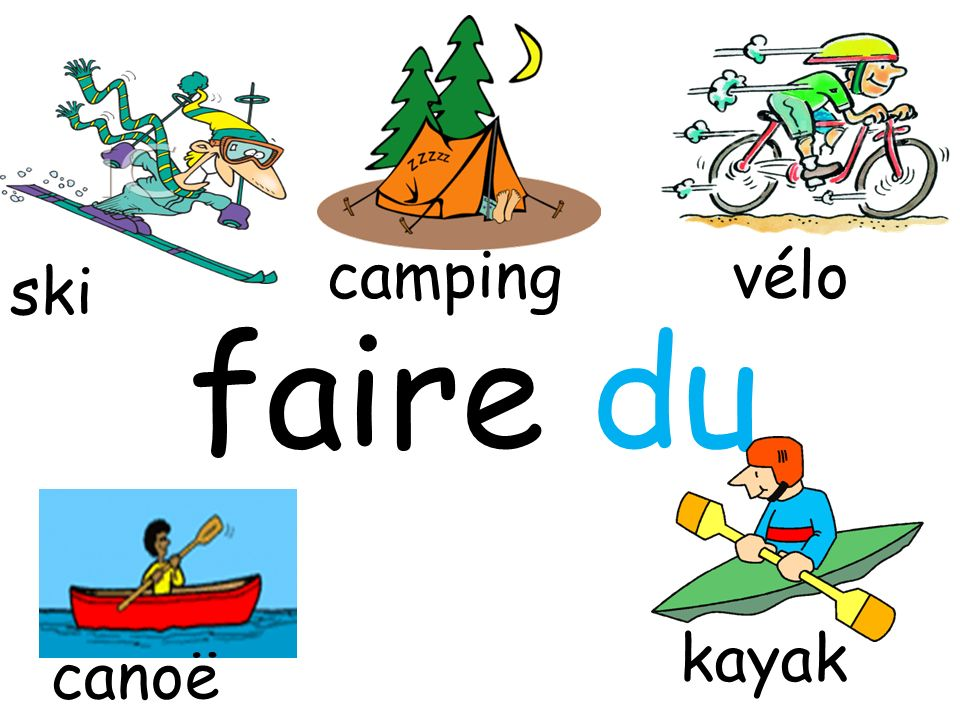 camping vélo ski faire du kayak canoë