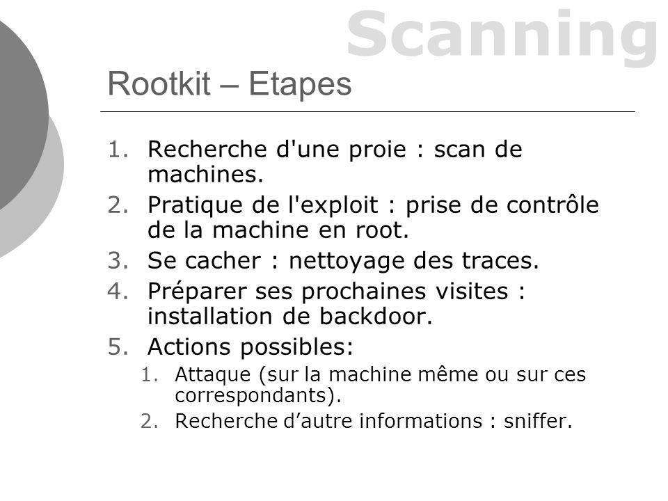 Rootkit – Etapes Recherche d une proie : scan de machines.