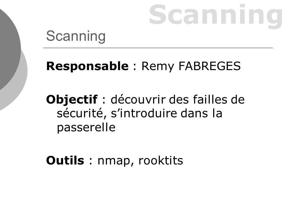 Scanning Responsable : Remy FABREGES