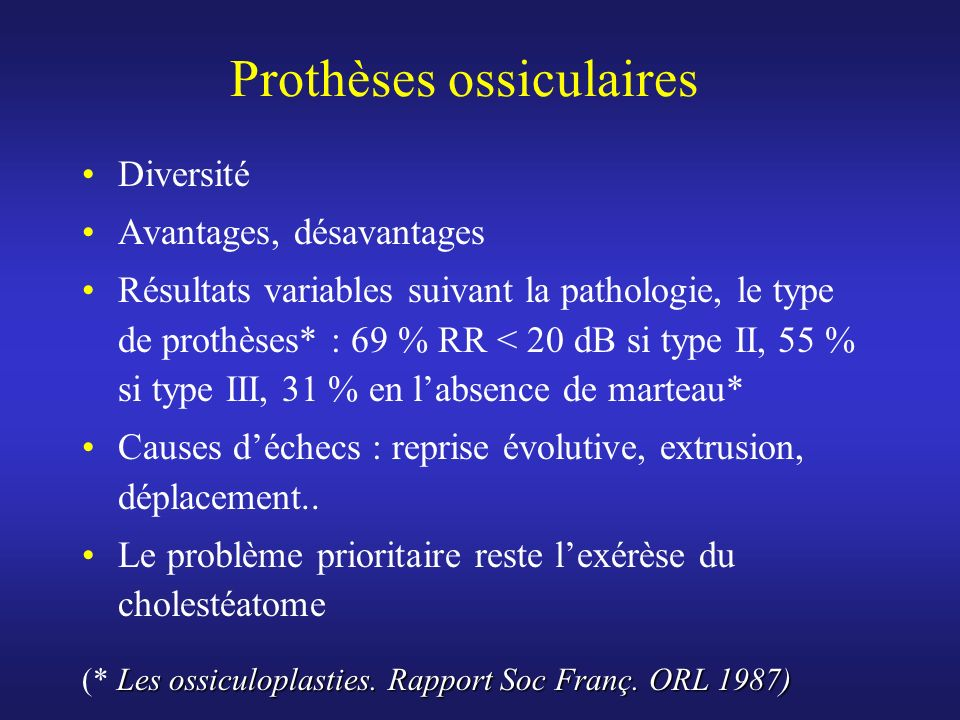 Prothèses ossiculaires