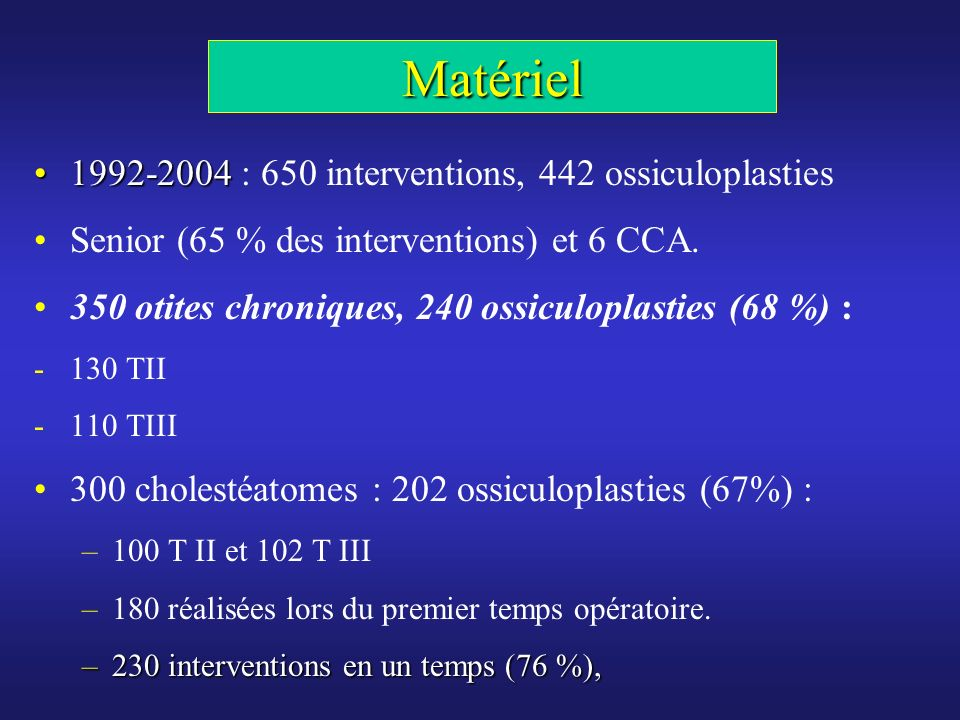 Matériel 1992-2004 : 650 interventions, 442 ossiculoplasties