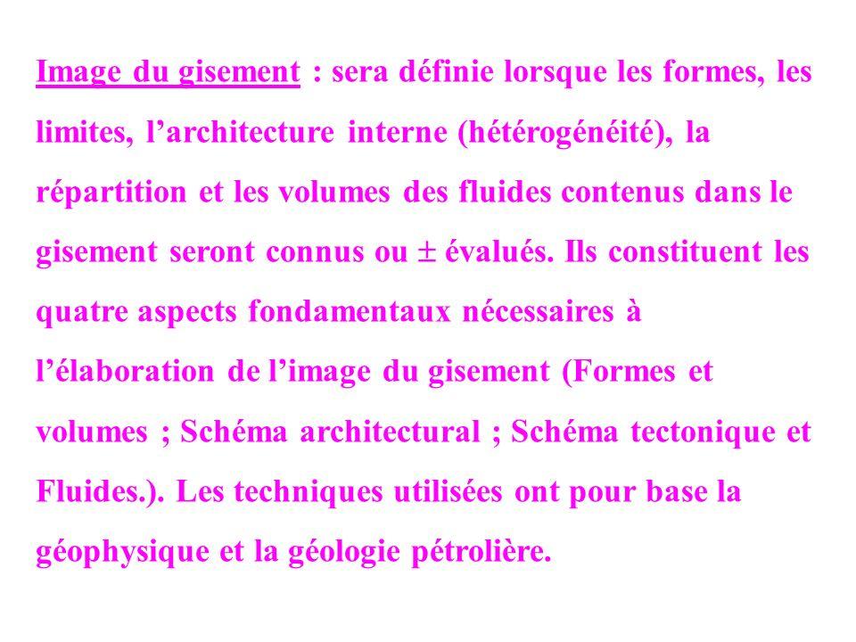 Image du gisement : sera définie lorsque les formes, les limites, l'architecture interne (hétérogénéité), la répartition et les volumes des fluides contenus dans le gisement seront connus ou  évalués.