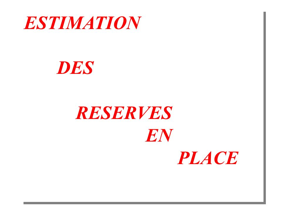 ESTIMATION DES RESERVES EN PLACE