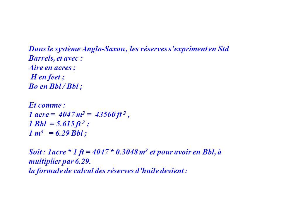Dans le système Anglo-Saxon , les réserves s'expriment en Std Barrels, et avec :