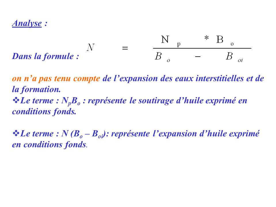 Analyse : Dans la formule : on n'a pas tenu compte de l'expansion des eaux interstitielles et de la formation.