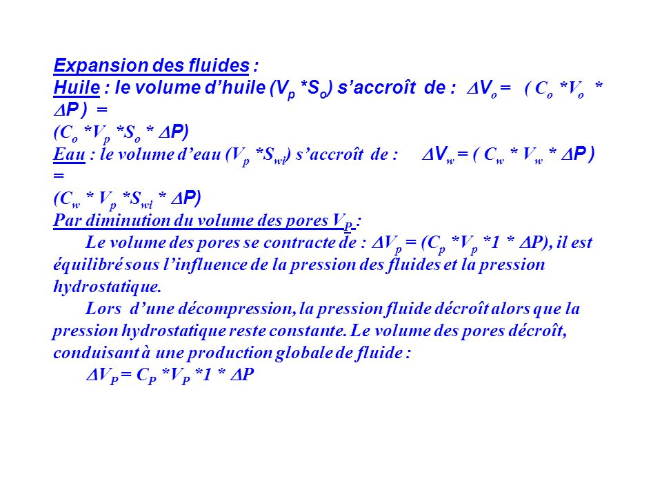 Expansion des fluides :