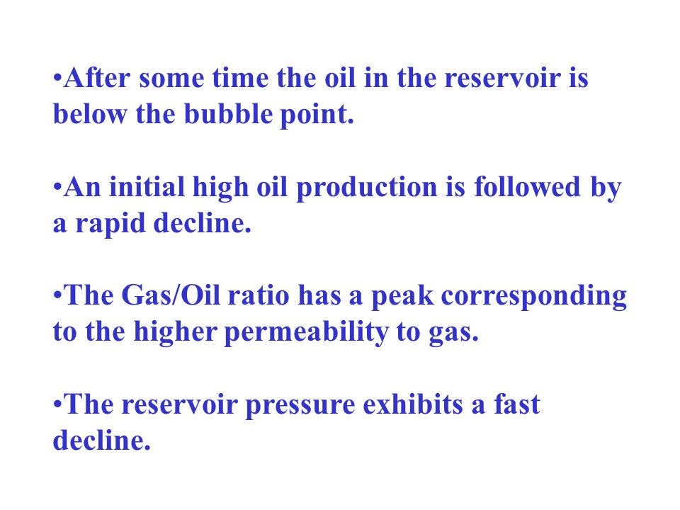 After some time the oil in the reservoir is below the bubble point.