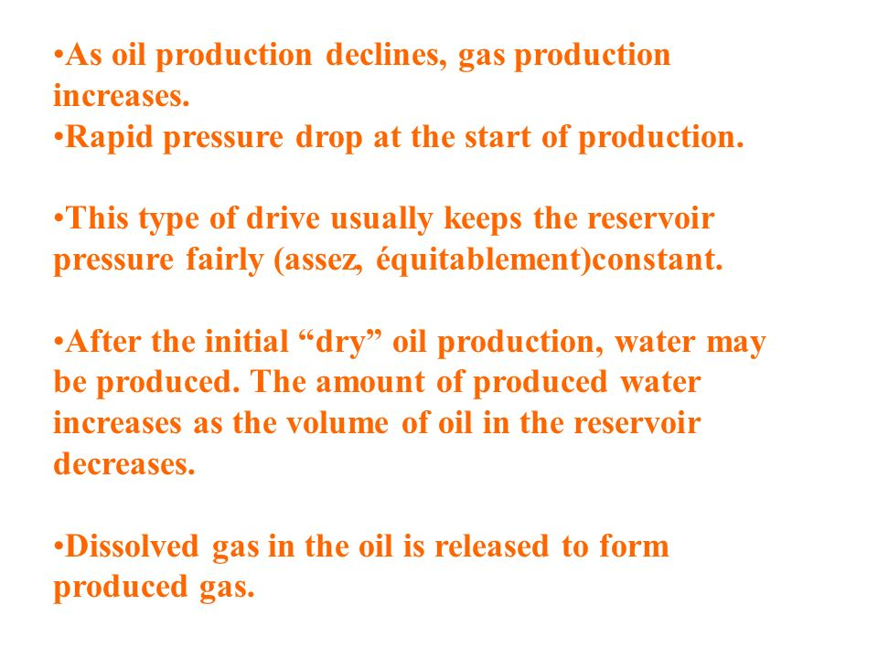 As oil production declines, gas production increases.