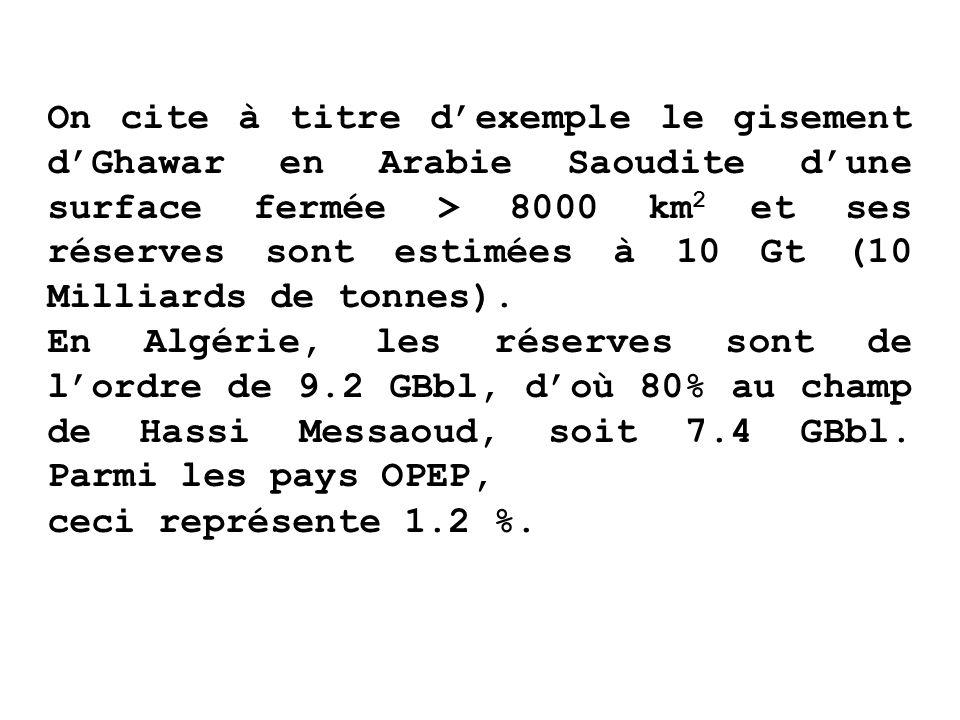On cite à titre d'exemple le gisement d'Ghawar en Arabie Saoudite d'une surface fermée > 8000 km2 et ses réserves sont estimées à 10 Gt (10 Milliards de tonnes).