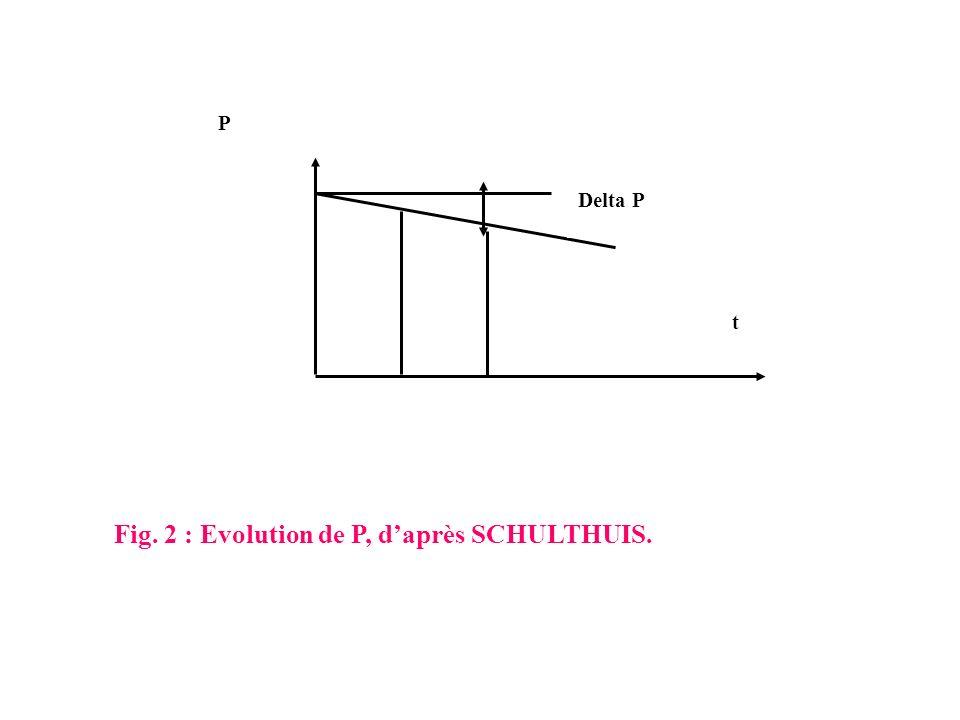 Fig. 2 : Evolution de P, d'après SCHULTHUIS.