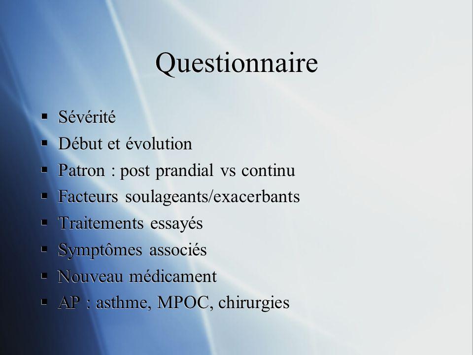 Questionnaire Sévérité Début et évolution