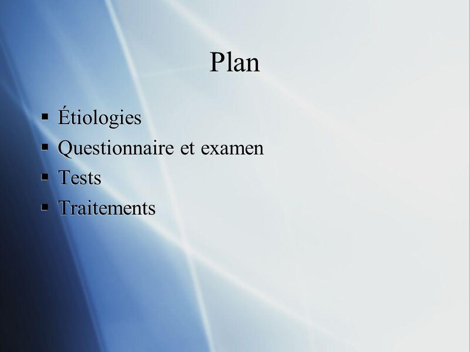 Plan Étiologies Questionnaire et examen Tests Traitements