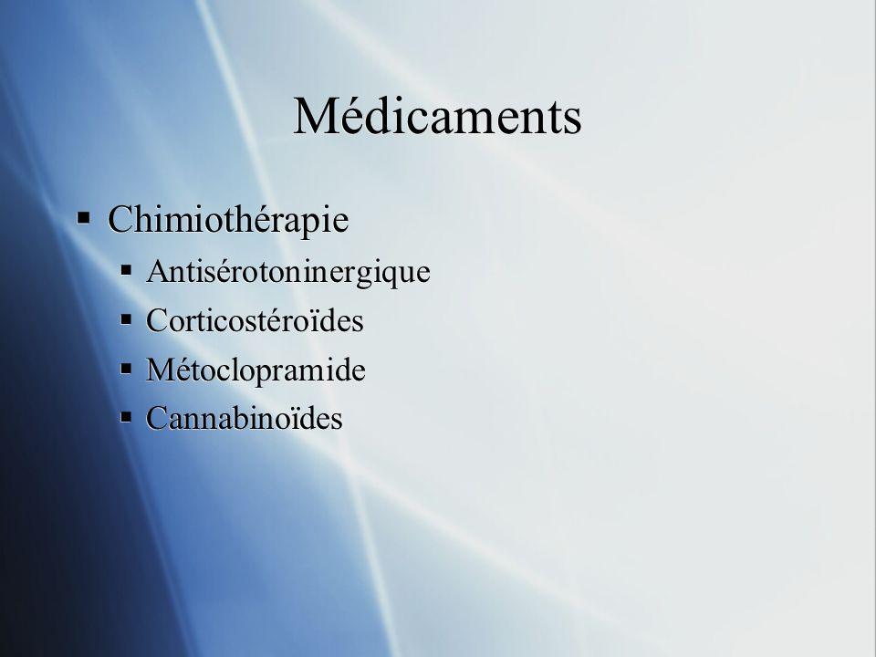 Médicaments Chimiothérapie Antisérotoninergique Corticostéroïdes