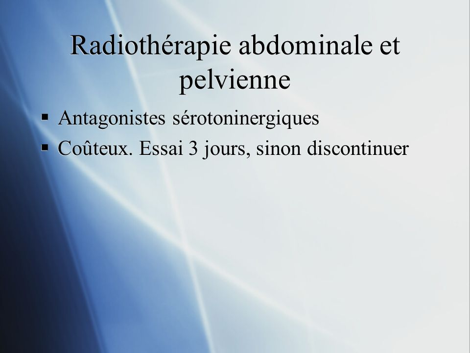 Radiothérapie abdominale et pelvienne