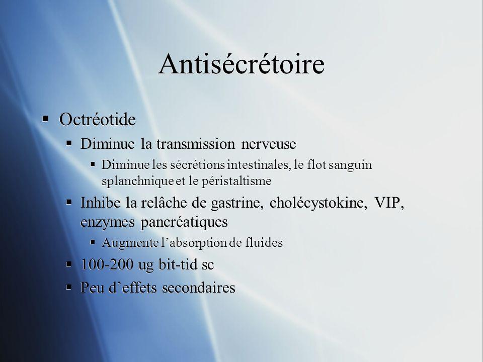 Antisécrétoire Octréotide Diminue la transmission nerveuse