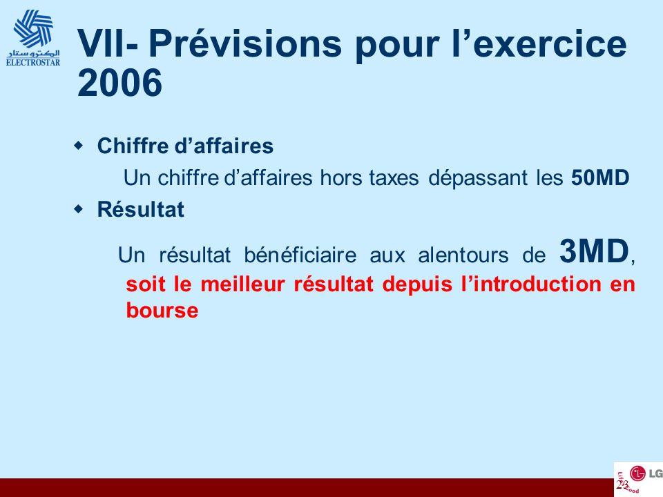VII- Prévisions pour l'exercice 2006