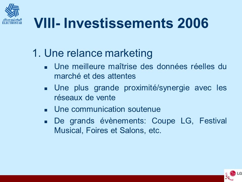 VIII- Investissements 2006