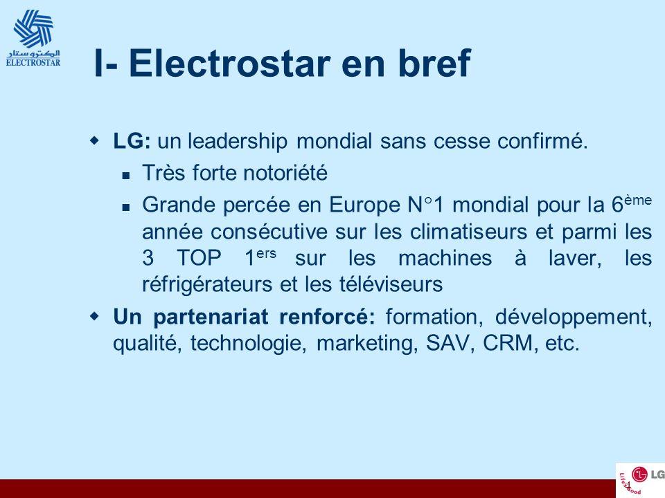 I- Electrostar en bref LG: un leadership mondial sans cesse confirmé.