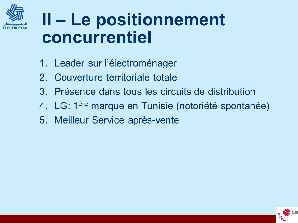 II – Le positionnement concurrentiel
