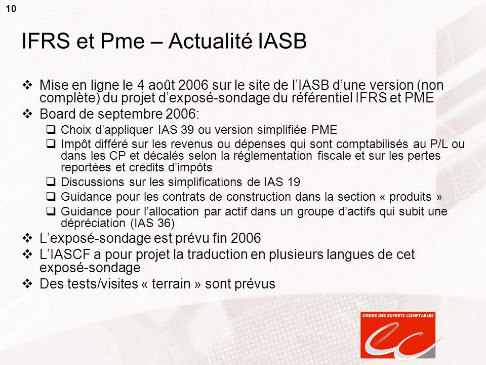 IFRS et Pme – Actualité IASB