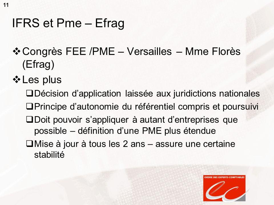 IFRS et Pme – Efrag Congrès FEE /PME – Versailles – Mme Florès (Efrag)